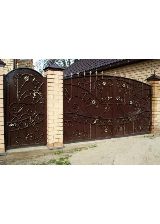 Купить Кованые ворота с калиткой - Авторские работы (Артикул 163)